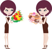Two women thick and thin. Vector illustration, color full, no gradient Royalty Free Stock Image