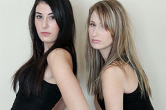 Two women together. Portrait of two beautiful women standing together Royalty Free Stock Image