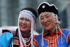 Two women in traditional mongolian clothes Royalty Free Stock Images
