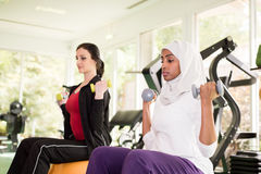 Two Women are Training in Gym Stock Photo