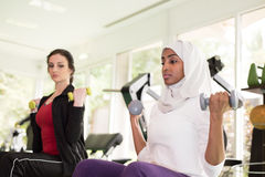 Two Women are Training in Gym Royalty Free Stock Images