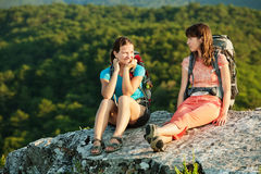 Two women is trekking in the Crimea mountains Stock Photography