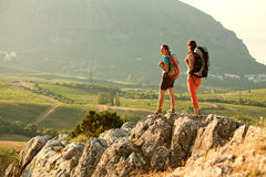 Two women is trekking in the Crimea mountains Stock Photos
