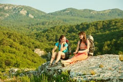 Two women is trekking in the Crimea mountains stock image