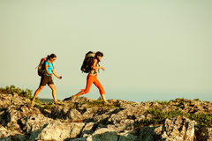 Two women is trekking in the Crimea mountains Stock Photo
