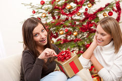Two women unpacking Christmas present Royalty Free Stock Photo