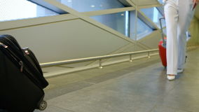 Two women walk down hallway at airport terminal waiting room. Stewardess dresses in fashionable short blue skirt with red insert black tights dark shoes stock video