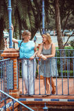Two women on walk in park Stock Image