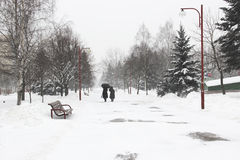 Two women walk through park in snow Royalty Free Stock Photography