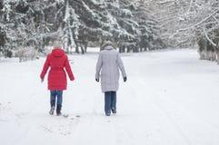 Two women walking on an empty, snowy street in Dnepr, Ukraine at December, 03 2016. DNEPR, UKRAINE - DECEMBER 03, 2016:Two women walking on an empty, snowy royalty free stock images