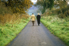 Two Women Walking in the English countryside Stock Photos