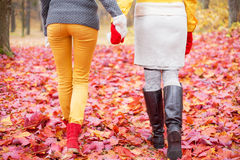 Two women walking in park Stock Images