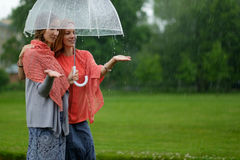 Two women walking park in rain and talk. Friendship and people communication. Stock Image