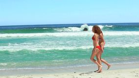 Two women walking while talking together. On the beach stock video