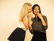 Two women whispering and smiling Royalty Free Stock Photos