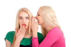 Two women whispering and smiling Royalty Free Stock Photo