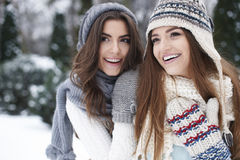 Two women in winter clothes Royalty Free Stock Photography