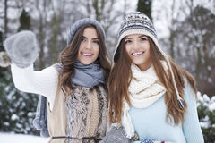 Two women during winter Stock Images