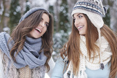 Two women during winter Royalty Free Stock Image