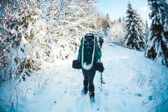 Two women in a winter hike stock photo