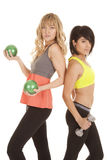 Two women work out back to back Royalty Free Stock Images