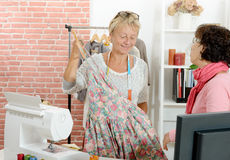 Two  women work in a sewing workshop Stock Photography