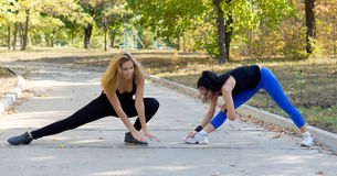 Two women working out together Stock Photography