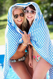 Two Women Wrapped In Towel Pool Stock Photos