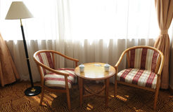 Two Wood Back Rest Chairs By Window Stock Photos