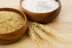 Free Two Wood Bowls With Four And Wheat Germ Royalty Free Stock Images - 16710129