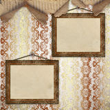 Two wood frame. For photo on the abstract vintage background Stock Photography