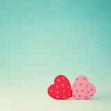 Two Wood Hearts Stock Image