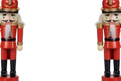 Two wood nutcrackers with copy space stock images