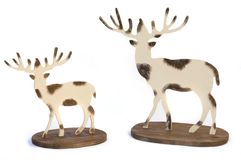 Two wood reindeer for christmas decoration isolate Royalty Free Stock Images