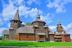 Two wooden ancient churches of 19th century in museum of wooden architecture in Suzdal, Russia Royalty Free Stock Photos