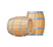 Two Wooden barrel for wine or beer. Container beverage. Vintage oak Cask. Isolated white background. Vector illustration royalty free illustration
