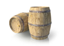 Two wooden barrels. On isolated background Stock Photo