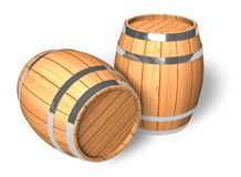 Two wooden barrels Stock Images