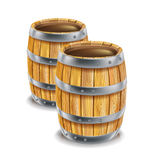 Two wooden barrels. Isolated on white Stock Illustration