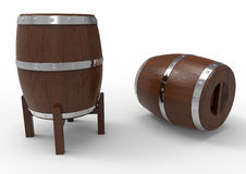Two wooden barrels Stock Photo