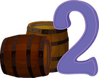 Two wooden barrels. Illustration of the two wooden barrels on a white background Stock Illustration