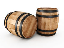 Two wooden barrels. On a white background stock illustration
