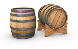 Wooden barrels. Two wooden barrels on white background (3d render Royalty Free Stock Images