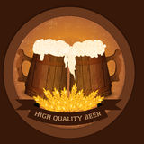 Two wooden beer mugs and wheat in vintage style - high quality beer concept. Vector illustration Stock Image