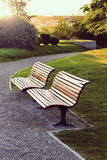 Two wooden benches Royalty Free Stock Photo