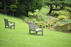 Two wooden benches Stock Photo