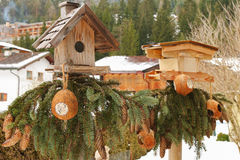 Two wooden bird feeders with coconut shell suet treats hanging Stock Image