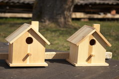 Two Wooden Birdhouses Royalty Free Stock Image