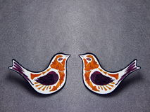 Two wooden birds brooch Royalty Free Stock Photo