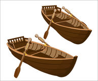 Two wooden boats on a white background Royalty Free Stock Images